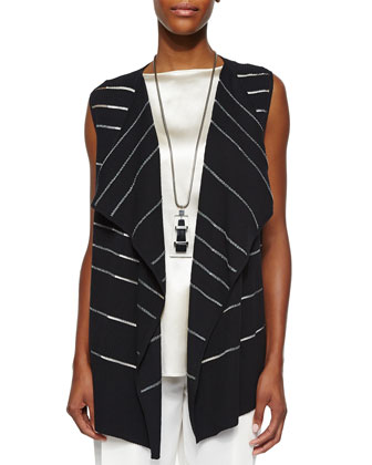 Sheer Striped Open Vest