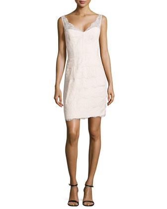 Lace Cocktail Dress with V Neckline