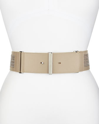Leather Belt with Chain Detail