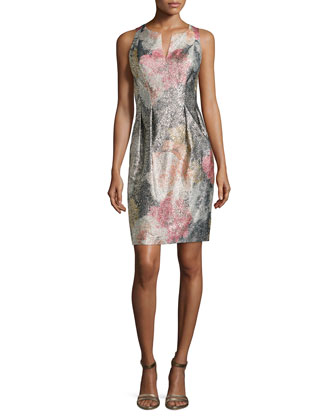 Metallic Floral Jacquard Cocktail Dress