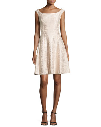 Jacquard Cap-Sleeve Cocktail Dress, Champagne