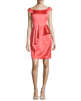 Cap-Sleeve Satin Cocktail Dress, Coral