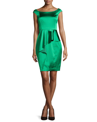Cap-Sleeve Satin Cocktail Dress, Grass