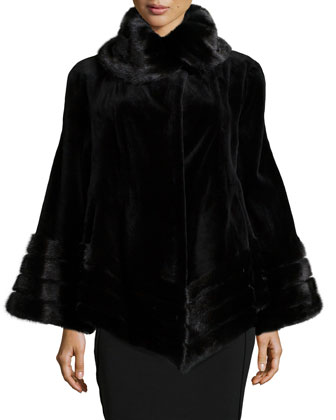 Sheared Mink Fur Jacket, Black