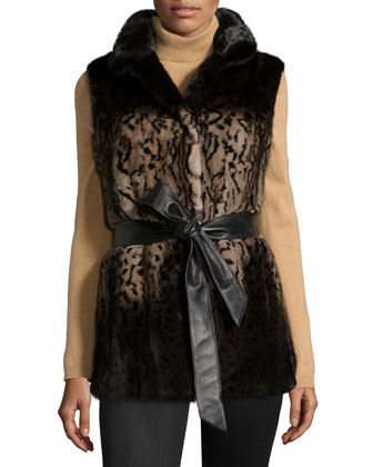 Reversible Animal-Print Belted Mink Vest