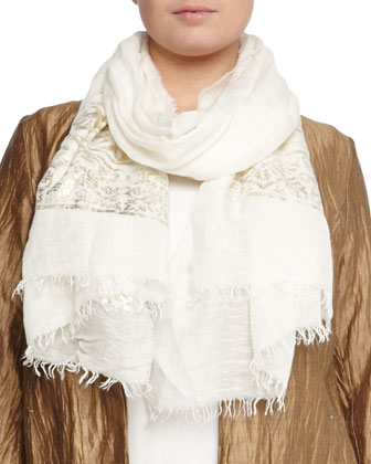 Fervore Crinkled Jacket, Sleeveless Jersey Top, Scarf with Golden Print & ...