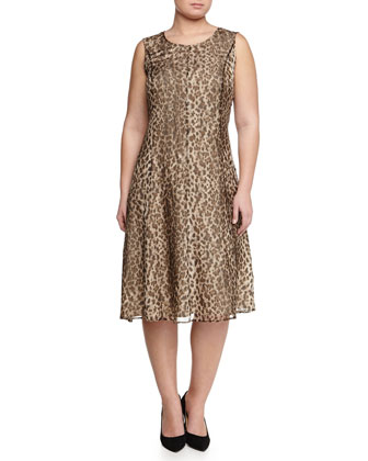 Animal-Print Dress W/ Attachable Sleeves, Women's