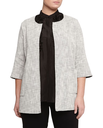 Favorite Long Textured Jacket, Birmano Japonette 3/4-Sleeve Ruffle Blouse & ...