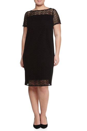 Doratura Short-Sleeve Macrame Sheath Dress, Women's