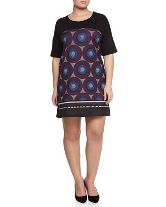 Ogiva Short-Sleeve Tribal-Print Tunic/Dress, Women's