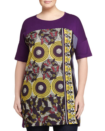 Ogiva Printed Short-Sleeve Tunic/Dress, Women's