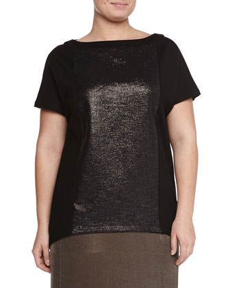 Short-Sleeve Volume Tee W/ Laminated Inset, Lumia Agate Necklace & Metallic ...