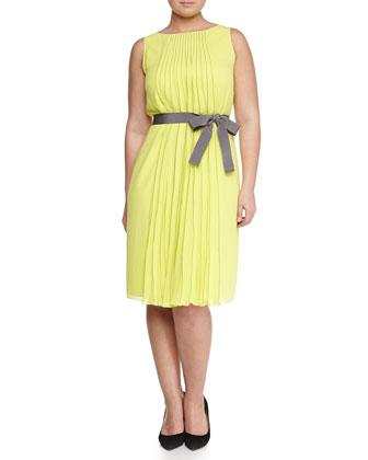 Sleeveless Pleated-Center Dress, Women's