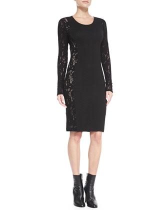 Long-Sleeve Lace-Side Sheath Dress, Black
