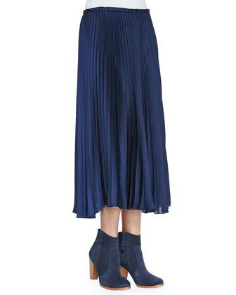 Pleated Cotton Maxi Skirt, Navy