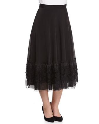 Bengala Ruffle-Trim Cutout Blouse & Cava Silk Organza Skirt, Women's