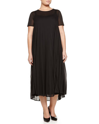 Olga Short-Sleeve Plisse Jersey Dress, Women's