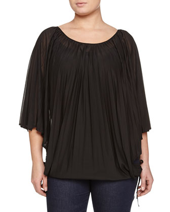 Zarevic Pleated Top, Largo Drama Necklace & Ignoto Stretch Denim Leggings, ...