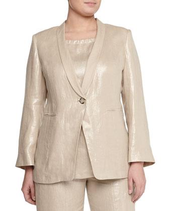 Corinne Shimmer One-Button Blazer, Jersey Tee, Straight-Leg Pants & Lato ...