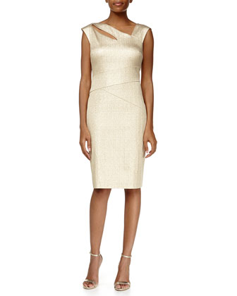 Cap-Sleeve Asymmetric-Neck Metallic Sheath Dress