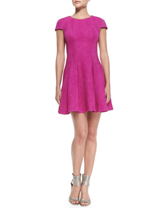 Cap-Sleeve Pleated Fit-and-Flare Dress, Passion Pink