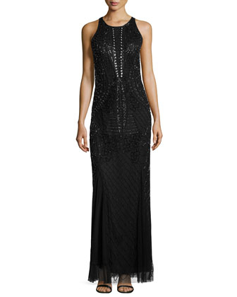 Beaded Illusion-Back Column Gown