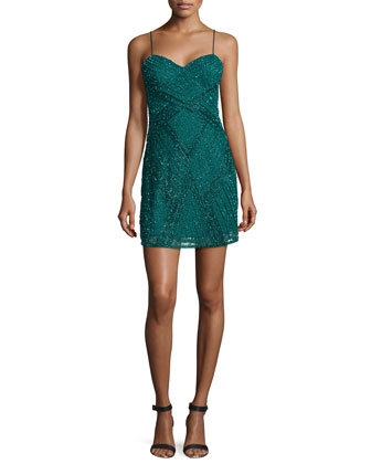 Beaded Cocktail Dress w/Spaghetti Straps, Forest