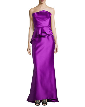 Strapless Satin Ruffled Mermaid Gown