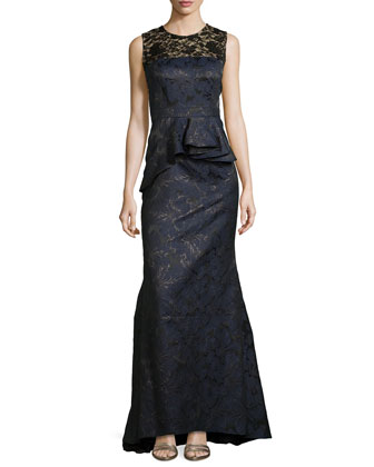 Metallic Brocade Gown with Lace Accent