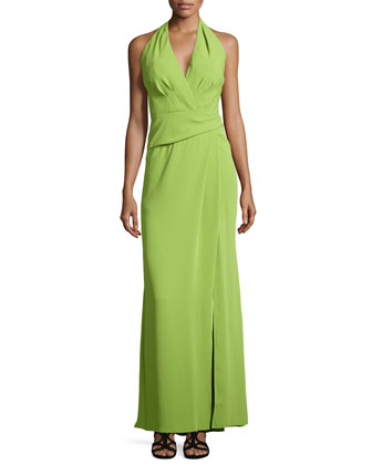 Crepe Halter Gown with Front Slit
