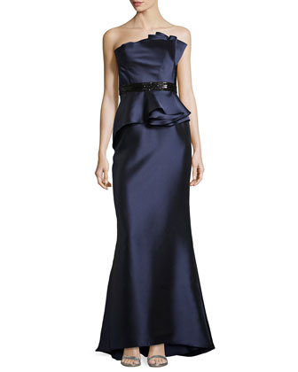 Strapless Satin Gown with Beaded Waist