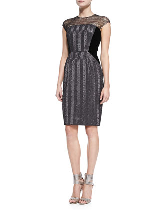Cap-Sleeve Illusion-Neck Beaded Cocktail Dress