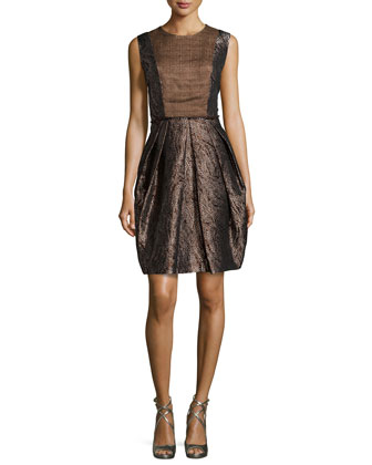 Sleeveless Metallic Mattelasse Cocktail Dress