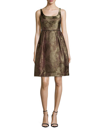 Metallic Brocade Cocktail Dress with Beading