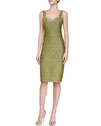 Scoop-Neck Cocktail Sheath Dress