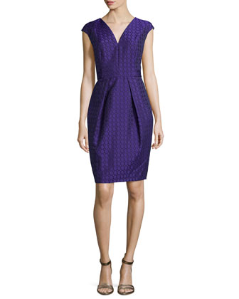 Cap-Sleeve Jacquard Cocktail Dress