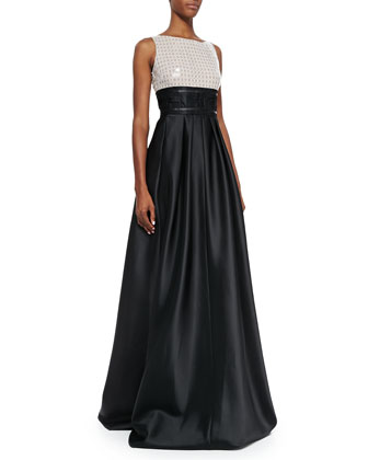 Sleeveless Two-Tone Gown, Ivory/Black