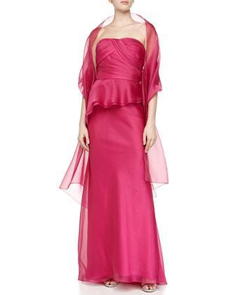 Strapless Organza Peplum Gown