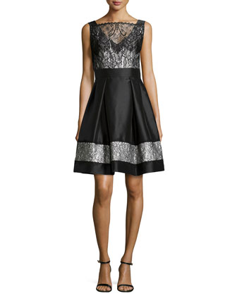 Sleeveless Satin & Lace Party Dress