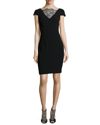 Knit Cocktail Dress with Lace Neckline