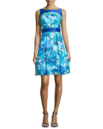 Sleeveless Printed Organza Party Dress