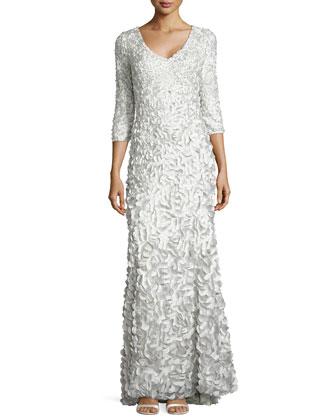 Half-Sleeve V-Neck Petal Gown, Celadon