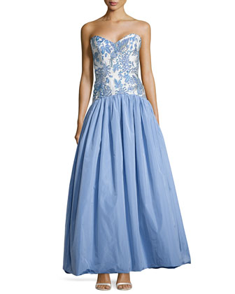 Strapless Butterfly/Floral-Bodice Ball Gown, China Blue/White