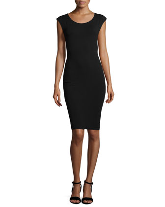 Cap-Sleeve Jersey Dress with Cutout