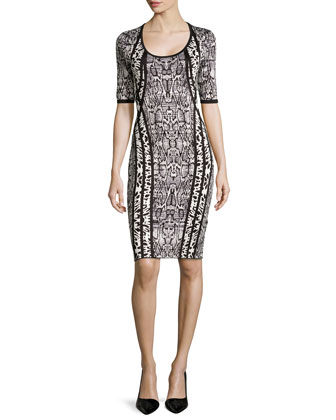 Half-Sleeve Animal-Print Sweater Dress