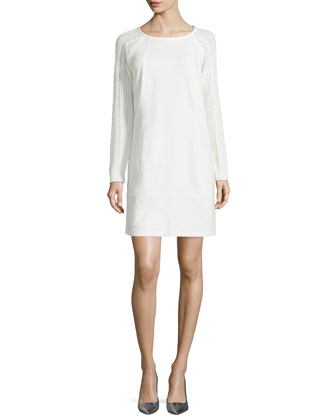 Ponte Dress with Cable-Knit Sleeves