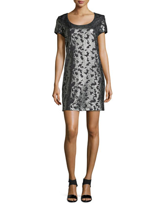 Short-Sleeve Sequined Knit Dress