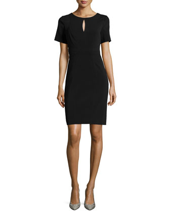 Short-Sleeve Crepe Sheath Dress