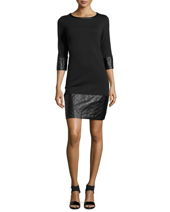 Ponte Dress with Faux-Leather Trim