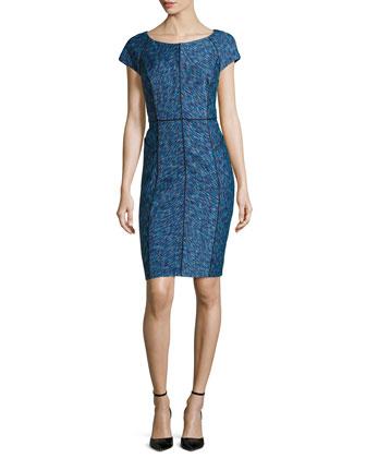 Printed Cap-Sleeve Dress W/ Seaming